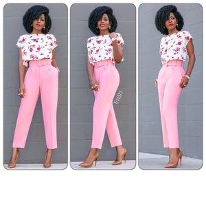 4f4e6e35 Zara Pants | Last One Blogger Fav Nwt Pink Trousers W Belt | Poshmark